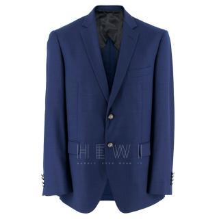 Balmain Blue Single Breasted Slim Fit Wool Blazer