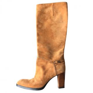 Tod's Camel Suede Tall Boots