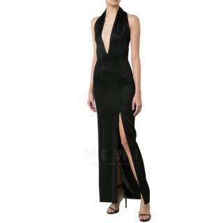 Galvan London Deep V Halterneck Black Gown