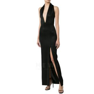 Galvan London Deep V Halterneck Black Gown
