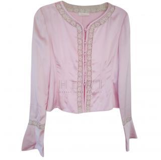 Valentino Pink Silk Lace Trim Blouse