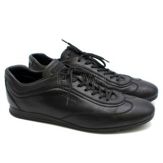 Prada black leather driving sneakers