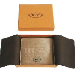 Tod's Metallic Gold Card Holder
