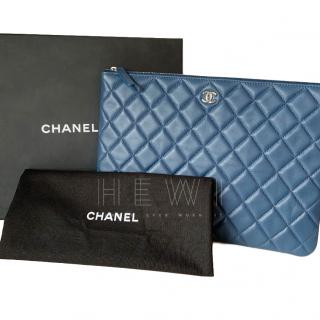 Chanel Blue Medium Quilted Leather O-Case