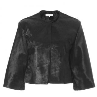 Galvan London Black Pony Skin Cropped Jacket