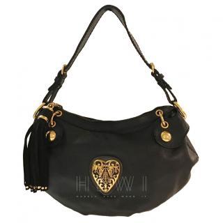 Gucci Black Leather Heart Plaque Shoulder Bag