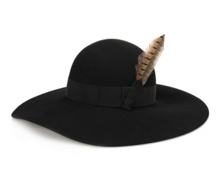 Saint Laurent Feather and grosgrain-trimmed rabbit-felt hat
