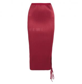 Barbara Casasola Plisse Satin Red Cut-Out Skirt