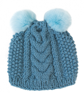 FurbySD Blue Merino Wool Hand Knit Hat