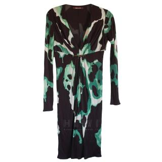 Roberto Cavalli Black & Green Printed Dress