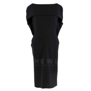 Balenciaga Black Sleeveless Draped Shawl Dress