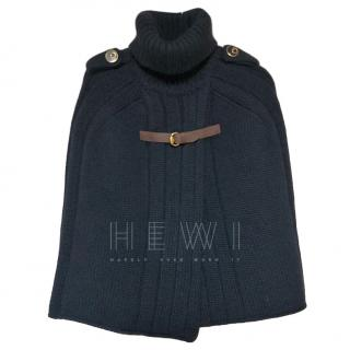 Gucci Black Wool Knit Poncho