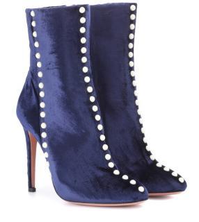 Aquazurra Blue Velvet Embellished Ankle Boots