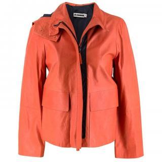 Jil Sander Orange Leather Hooded Jacket