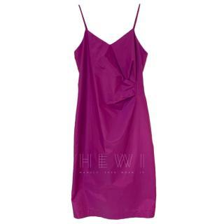 Max Mara Violet Silk Blend Gathered Mini Dress