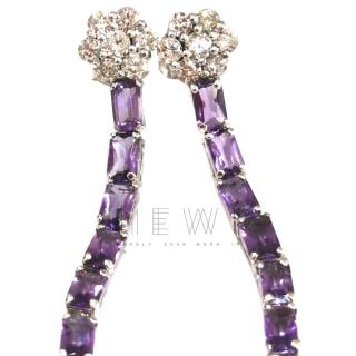 Bespoke Diamond and Amethyst drop earrings
