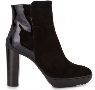 Tod's Suede & Patent Leather Ankle Boots