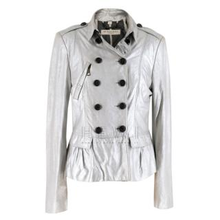 Burberry Metallic Silver Leather Jacket