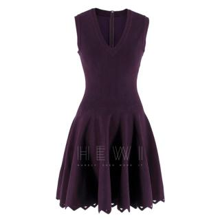 Alaia Mulberry Sleeveless Knit Fit & Flare Dress