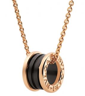 Bvlgari Yellow Gold and Ceramic B.zero1 Onyx Necklace