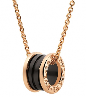 Bvlgari Yellow Gold and Ceramic B.zero1 Onyx Necklace