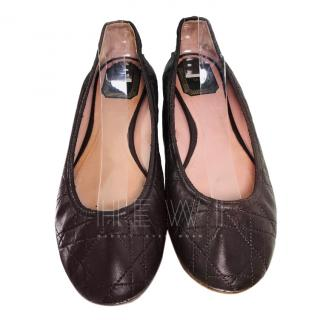 Dior Brown Cannage Leather Ballerina Flats