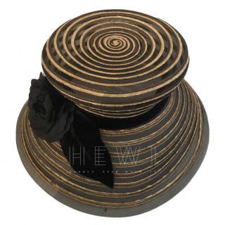 Eric Javits Gold & Black Twisted Straw Hat