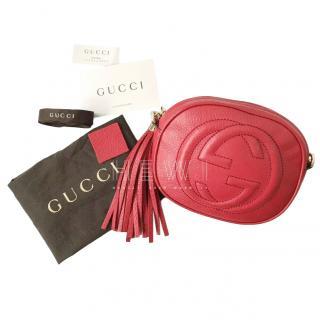 Gucci Red Leather Soho Mini Chain Bag