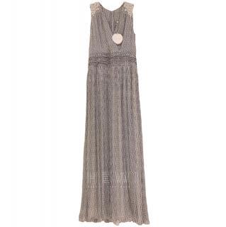 Chloe Embroidered Silk V-Neck Maxi Dress