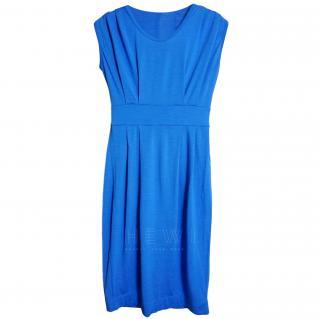 John Smedley Blue Wool Knit Midi Dress