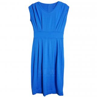 John Smedley Blue Wool Knit Midi Dress