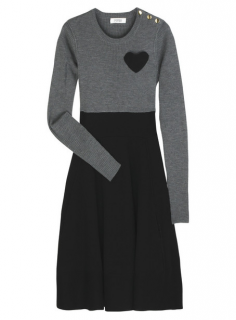 Sonia by Sonia Rykiel Heart Merino Wool Grey & Black Dress