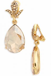 Oscar de la Renta Crystal Teardrop Clip-on Earrings