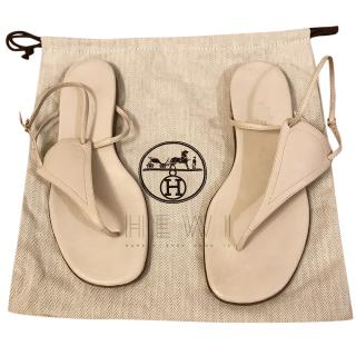 Hermes Cream Flat Leather Sandals