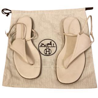 Hermes Cream Flat Leather Sandals