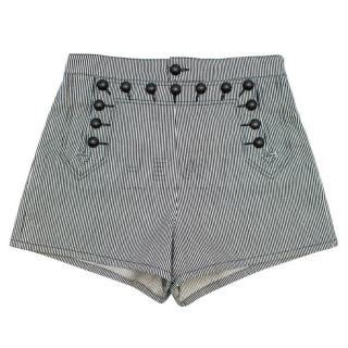 Christian Dior Blue and White Striped Bee Embroidered Shorts