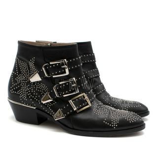 Chloe Black Studded Susanna Ankle Boots
