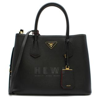 Prada Black Saffiano Leather Medium Double Tote Bag