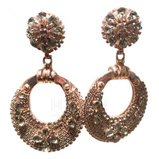 Ermanno Scervino Crystal Embellished Hoop Drop Earrings