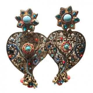 Gas Bijoux Filigree Embellished Heart Earrings