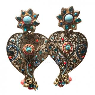 Gas Bijoux Filigree Embellished Heart Earrings