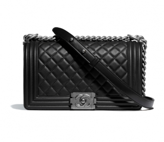 Chanel Black Lambskin Leather Le Boy Bag