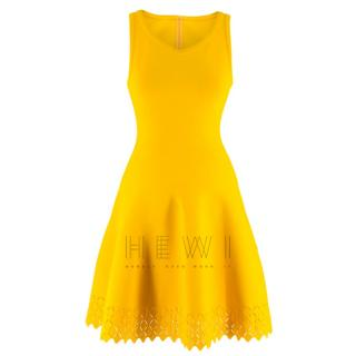 Alaia Sleeveless knit yellow fit & flare dress