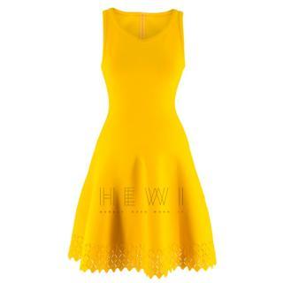 Alaia Sleeveless knit yellow fit & flare dress