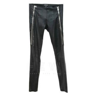 Jitrois Black Leather Zip Front Stretch Pants