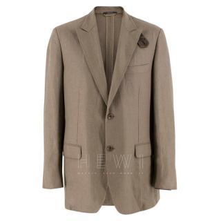 Hermes Olive Green Linen Blazer