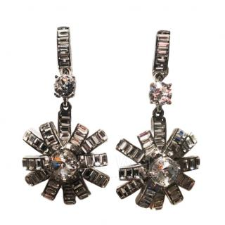 Oscar De La Renta Crystal Star Drop Earrings