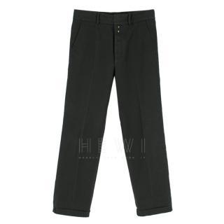 Gucci Men's Navy Blue Straight Leg Trousers