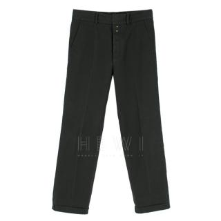 Gucci Men's Navy Blue Straight Leg Trousers