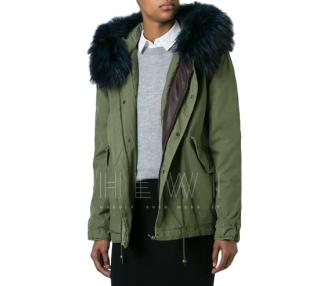 Mr & Mrs Italy Green Parka Coat with Blue Racoon Fur Hood